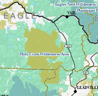 Map of the Holy Cross Wilderness