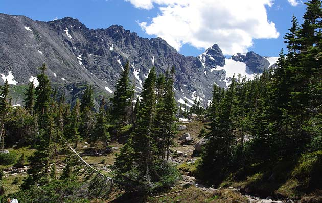 View of the Indians Peaks near Lake Isabelle