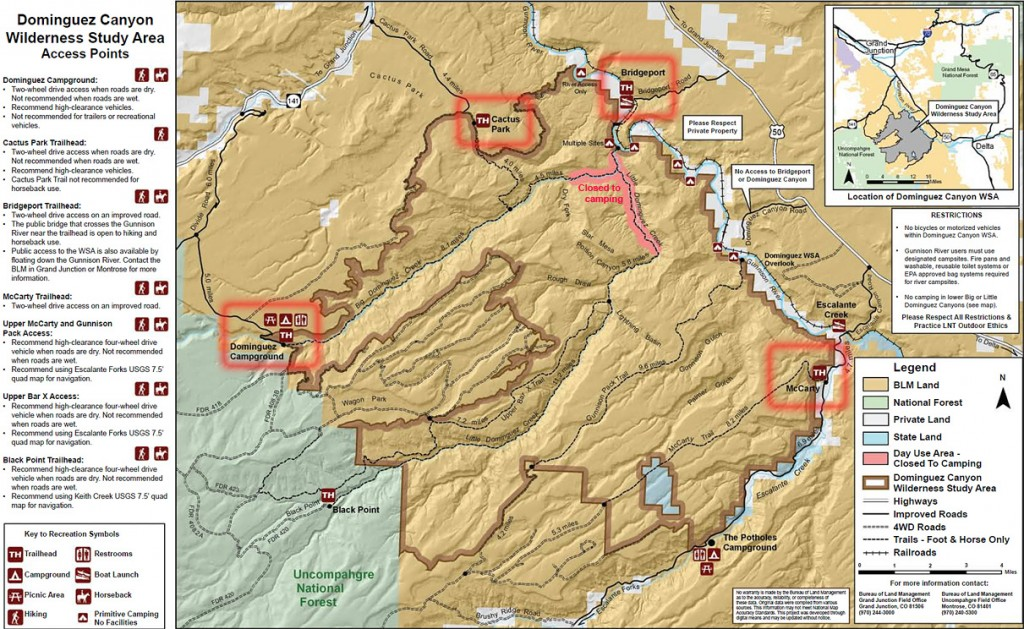 Dominguez Trailhead Map - Click to enlarge