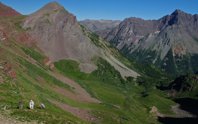 Climbing Buckskin Pass in the Maroon Bells Snowmass Wilderness