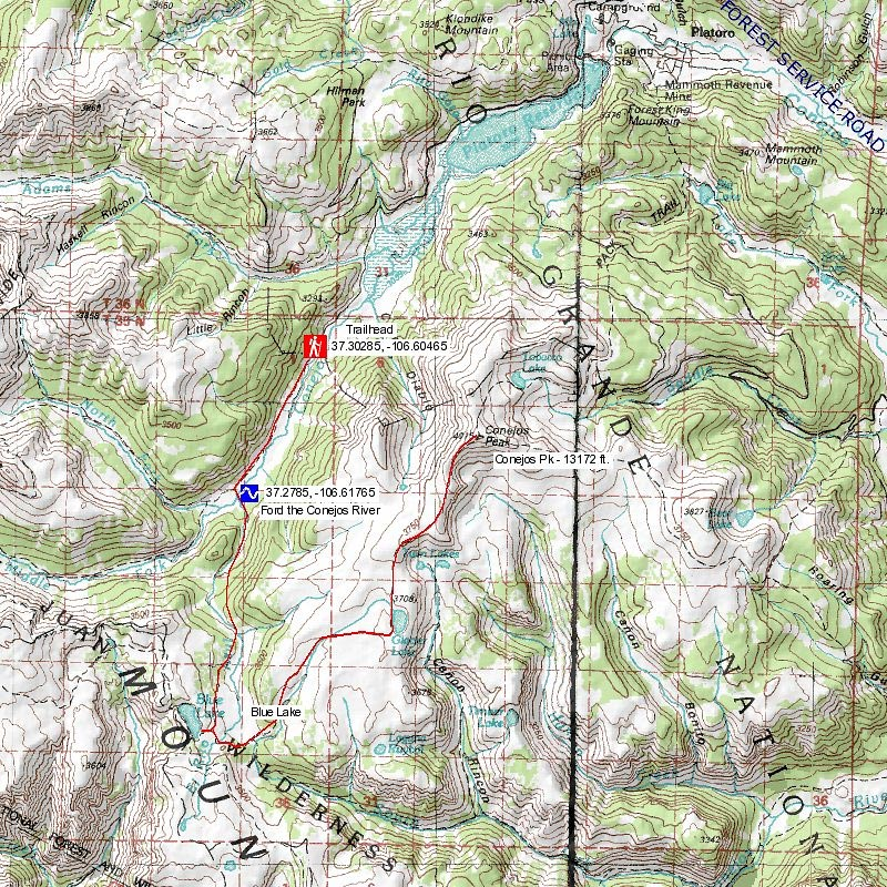 Blue Lakes Trail Map Colorados Wild Areas