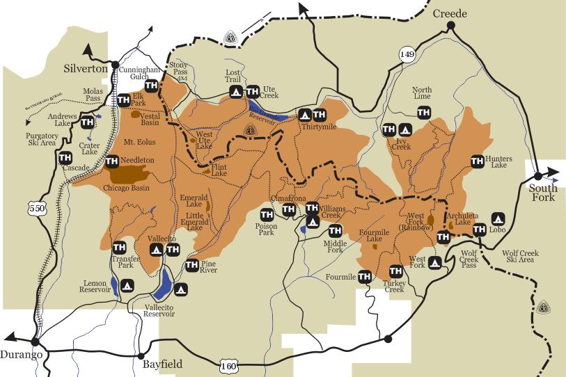 Weminuche Wilderness Map Weminuche Wilderness Trip Planner [ Free ebook ] | Colorado's Wild