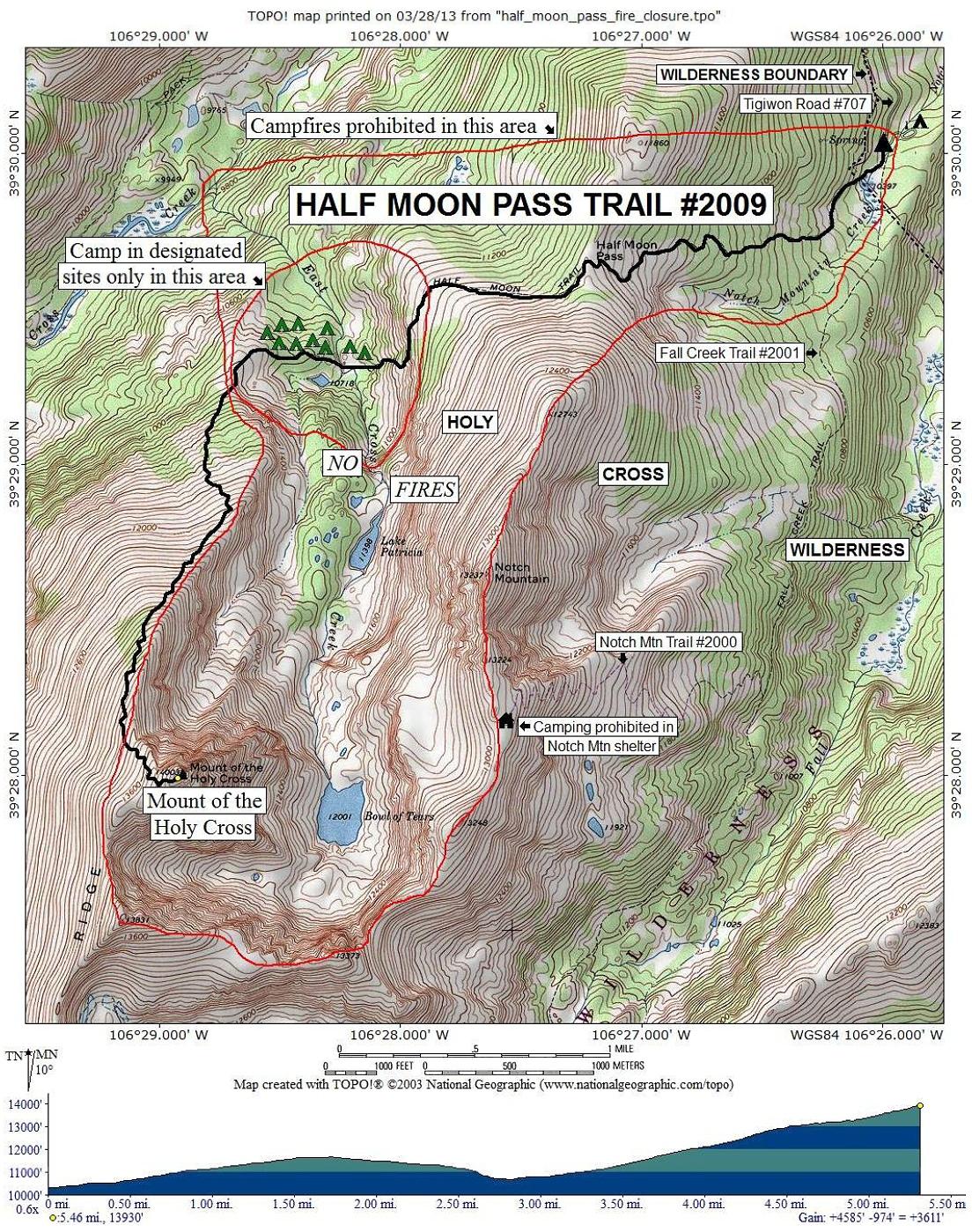 Half Moon Trail Map | Colorado\'s Wild Areas